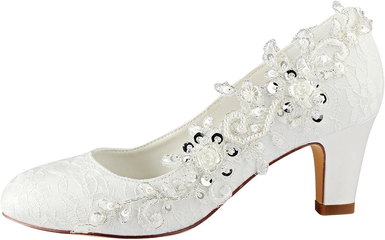 Emily Bridal Brautschuhe Frauen Seide wie Satin St/ämmiger Absatz Absatzschuhe mit Stich Spitzen Blume Kristall Perle