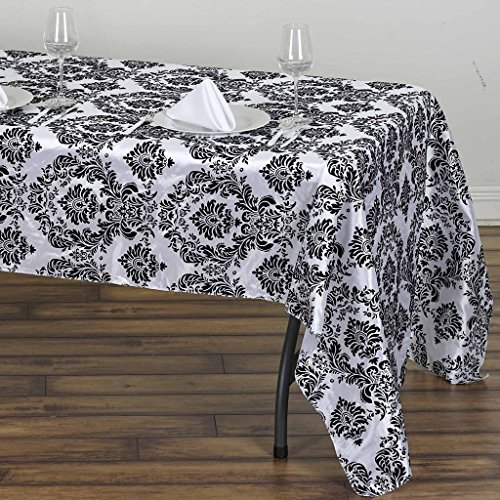 BalsaCircle 60-Inch x 126-Inch Black and White Rectangular Damask Flocking Tablecloth Table Linens Wedding Party Events Decorations -