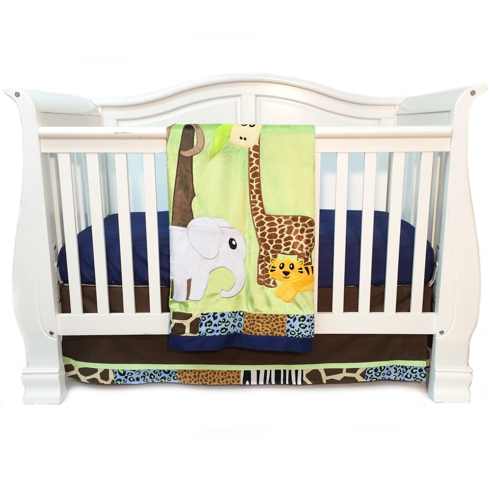 One Grace Place 10-14b118 Jazzie Jungle Boy-Infant Set (3pc), Green, Light Blue, Navy Blue and Black Yeelein