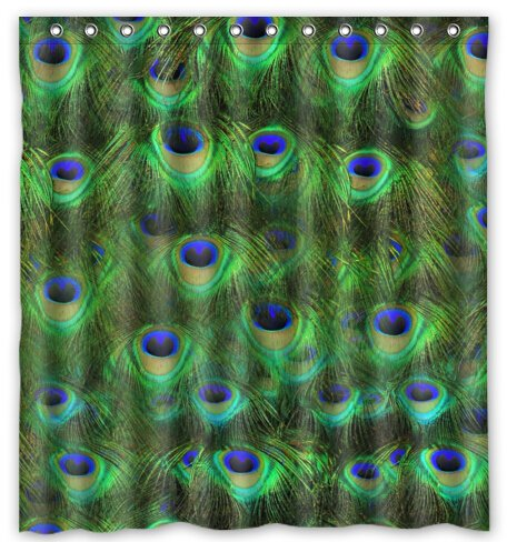 "Fancy Glitter Peacock Water-Proof Polyester Fabric (66"" x 72"" ) Shower Curtain"