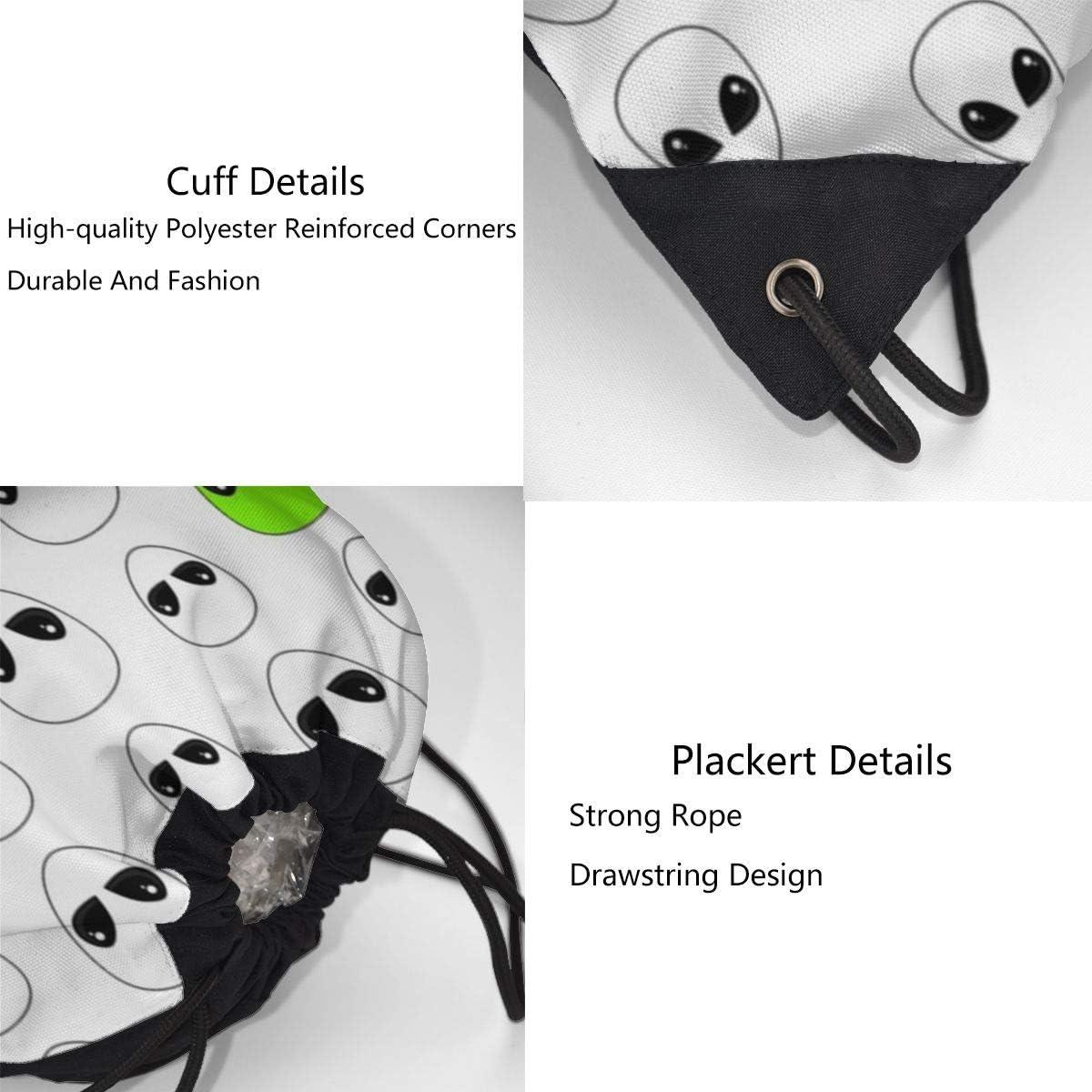 Ljxing Cartoon Alien Personalized Gym Drawstring Bags Travel Backpack Tote Rucksack