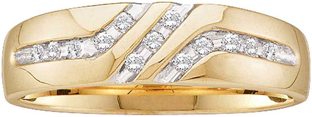 Sonia Jewels 10k Yellow Gold Mens Round Channel-Set Diamond Triple Row Wedding Band Ring 1/8 Cttw