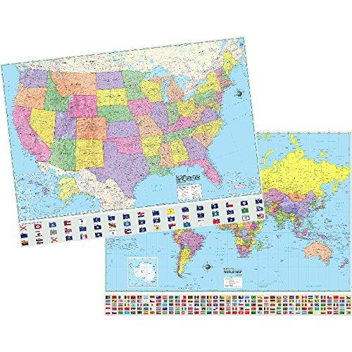 Universal Map Group Llc Uni2982227 Us & World Physical/politcal Map Set 50 X 38 ()