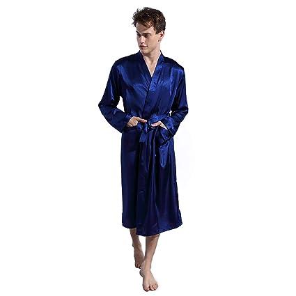 HUAN Batas de baño para Hombre 2018 Bata de Color sólido Vestido de Noche Suelto Gran