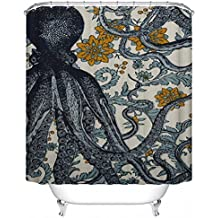 "Custom Shower Curtain Mildew Resistant Waterproof Polyester Fabric Bathroom Shower Curtain Set with Hooks Bathroom Accessories Octopus 66""(w) x 72""(h)"