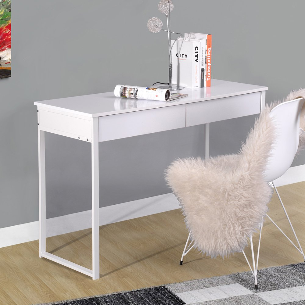 Innovareds Console Table Task Desk Side Table 2 Drawers Simple Modern Style Desk White