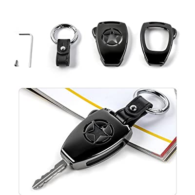JeCar Metal Remote Key Fob Cover Case Shell Fob Protection Hull with Key Chain for Jeep Wrangler JK JKU 2008-2020/Compass 2008-2015/Patriot 2011-2016 Accessories: Automotive
