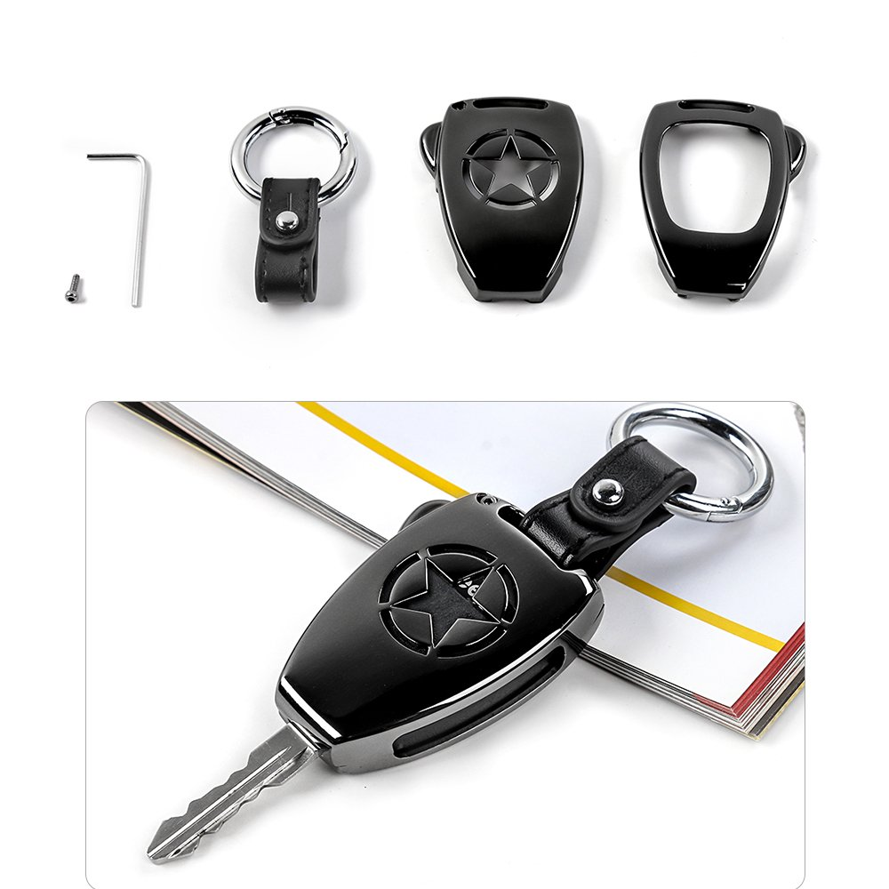Remote Control Key Fob Cover Keychain Key Holder For Jeep Wrangler JK 2008-2017