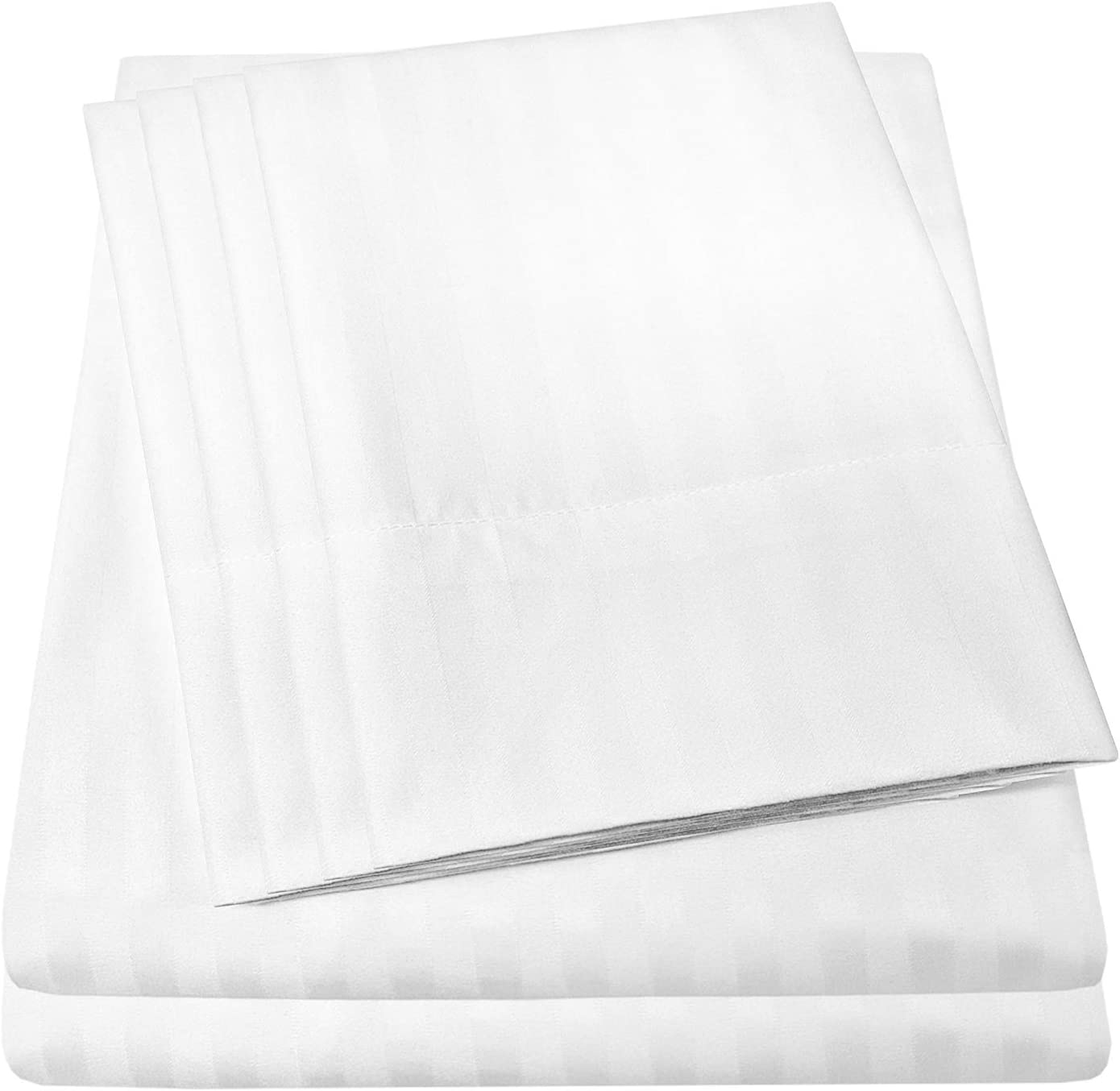 Sweet Home Collection 6 Piece Bed Sheets 1500 Thread Count Fine Microfiber Deep Pocket Set-EXTRA PILLOW CASES, VALUE, Queen, Dobby White