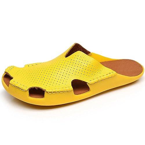 La Mujer Nuevas Marcas De Calzado Cerrado, Zapatos De Tacón Bajo De Cabeza Hueca Plana Zapatillas Sandalias De Cuero Calzado De Playa, Amarillo 41: ...