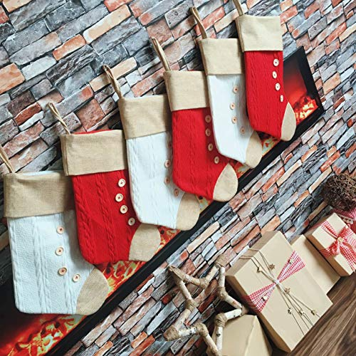 ZeoMep Christmas Stockings ,18 Xmas Unique Knit Burlap Personalized Stocking Large - Christmas Decorations Family Ornaments and Fireplace Holiday Décor