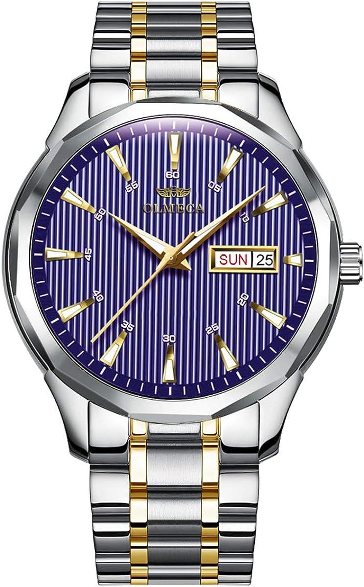 OLMECA Men s Watch Fashion Luxury Wrist Watches Analog Quartz Waterproof Chronograph Watch for Men Stainless Steel Strap Clock 853