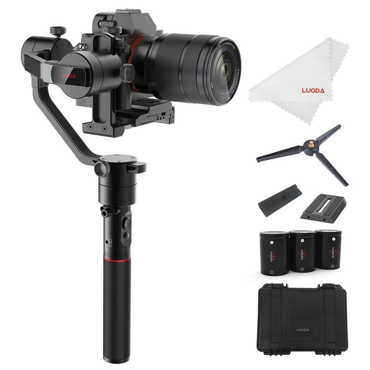 MOZA AirCross 3-Axis Gimbal Stabilizer for Mirrorless Camera up to 3.9 Lb, Auto-Tuning, Time-lapse Shooting, 12Hrs Run-time i.e. Sony A7SII, Pana GH3/4/5 by MOZA