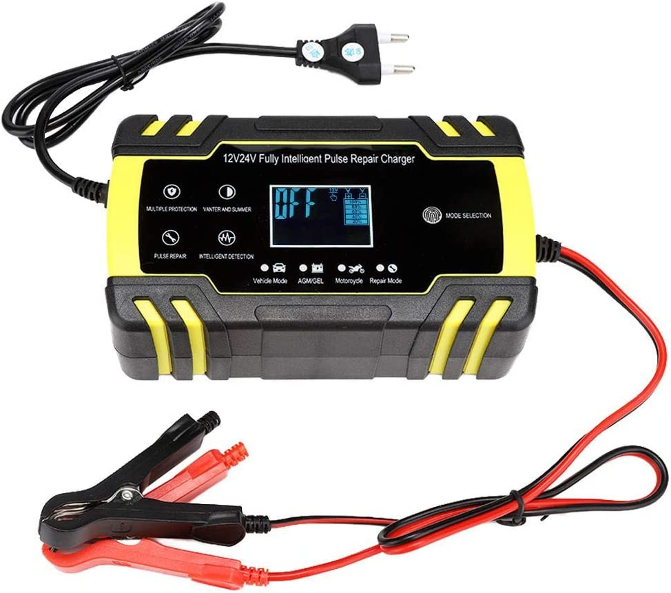 Hakeeta Caricabatterie con Display Digitale LCD Intelligente con Ventola di Raffreddamento e riconoscimento Automatico del radiatore in Alluminio Spina Europea