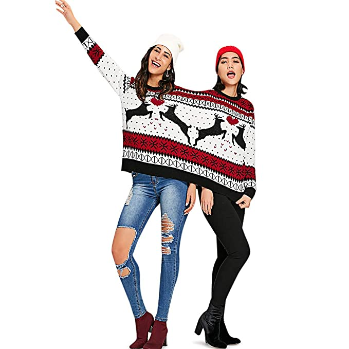 Ugly Christmas Skirt Ideas.Charmma Crew Neck Long Sleeve Two Person Knit Pullover Ugly Christmas Sweater