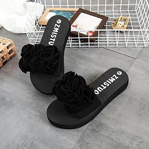 libre planos playa Bohemia Flor Negro Zapatos Adolescente de tacón Rojo Chica Zapatos Mujer al de Zapatillas Sandalias aire gruesas Moda Negro Chanclas Chanclas libre Rosado Zapatos al alto Verano aire IXHax4