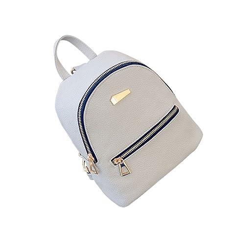 dc57318998846 OULII Mini Rucksack Leder mit Reißverschluss Damen modische kleine Daypack  Schultasche Mädchen (Grau)
