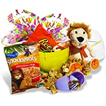 "Reese's Easter Peanut Butter Cup Gift Basket w/11"" Singing Lion Plush (Sings a Peanut Butter Cup Song) 10""x7"" Transparent Basket w/Caramel Cadbury Eggs, Chocolate Chip Cookies & Easter Egg Gift Wrap"
