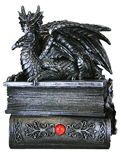 DWK Mythical Guardian Dragon Trinket Box Statue with Hidden Book Storage Compartment for Decorative Gothic Medieval Home Decor Figurines Jewelry Box Magical Fantasy Statue