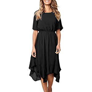 de8b68965cc7 HOTAPEI Women's Casual Short Sleeve Empire Waist Summer Chiffon Midi Dresses  with Irregular Hem