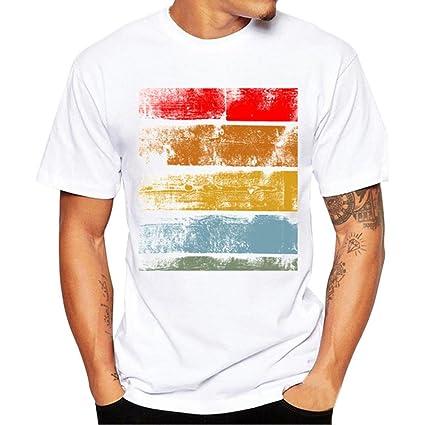 Camisas Hombre ❤️Amlaiworld Moda Hombres Mujeres Impresión Tees Camisa  Manga Corta Camiseta de algodón Blusa 8c5c85e22d691