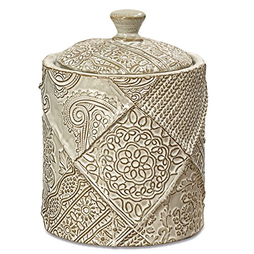 Whole House Worlds The Naturally Modern Decorative Jar with Knob Top Lid, Floral and Paisley Pattern, Porcelain, Green Tan, 4 Inches Diameter x 5 1/2 Inches Tall, By (Green Porcelain Jar)