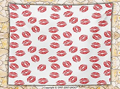 Teen Girls Decor Fleece Throw Blanket Pattern with Red Lipstick Kiss Marks Woman Valentines Wedding Theme Illustration Print Throw