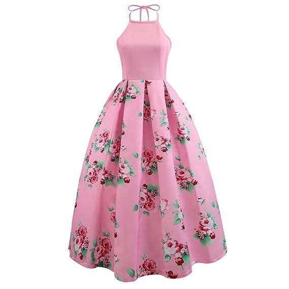 Vestidos largos de fiesta para bodas 2018, VENMO Sexy mujeres floral impresa vestido largo sin mangas fiesta backless playa vestido maxi: Amazon.es: Ropa y ...
