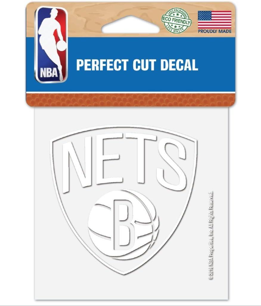 "WinCraft NBA Brooklyn Nets 4""x4"" inch White Decal Sticker"