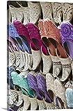 Arabian slippers at a market stall, Bur Dubai, Dubai, United Arab Emirates Gallery-Wrapped Canvas