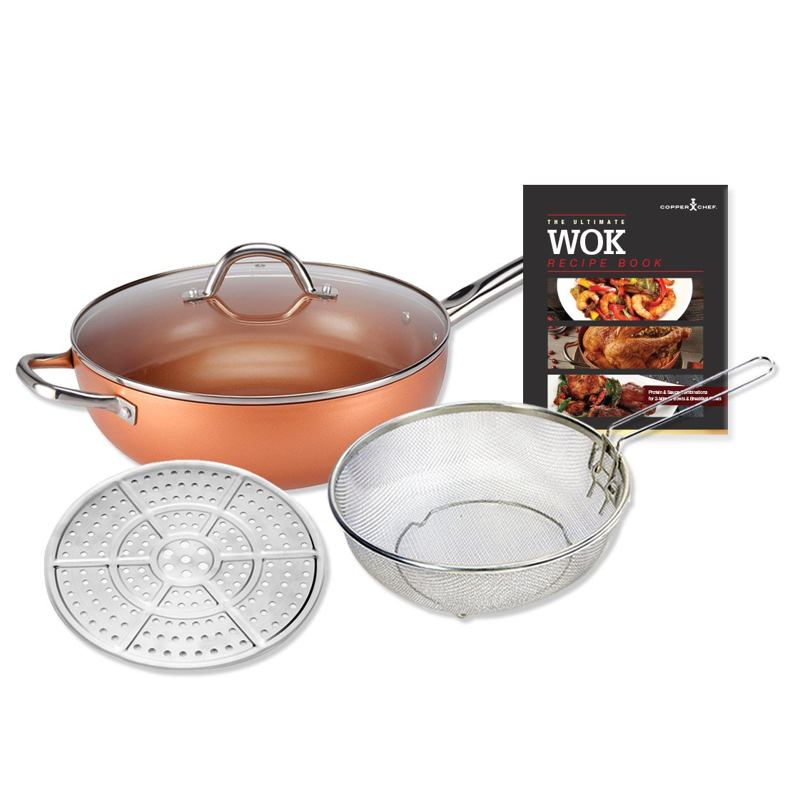 "Copper Chef 12"" (30cm) Non-Stick Wok with Tempered Glass Lid BONUS Steam & Roast Rack, Deep Fry Basket, Recipe Book and Lifetime Warranty (As Seen on High Street TV)"
