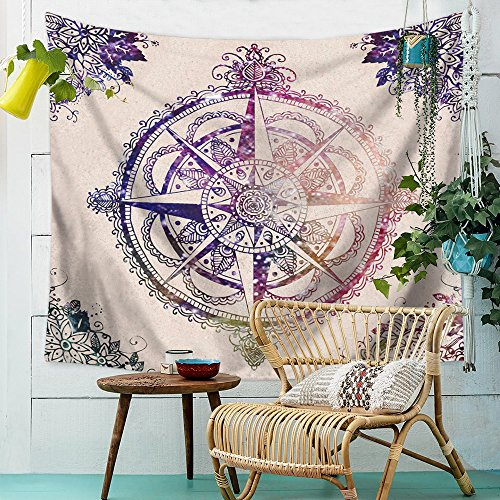 ZHH Tapestry Colored Compass Home Decor Wall Hanging Bohemia