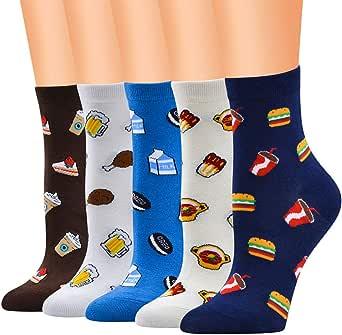 QinMMROPA 5 pares calcetines largos divertidos de algodón para mujer adulto calcetines altos otoño invierno calcetines running deporte transpirables: Amazon.es: Ropa y accesorios