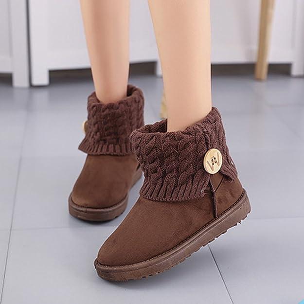 Landove Stivali da Neve Donna Bassi Invernali Calde Stivaletti Caviglia con  Button in Maglia Eleganti Snow Boots Vintage Scarpe a Collo Alto Scarponi  per ... 81ad7141bf1