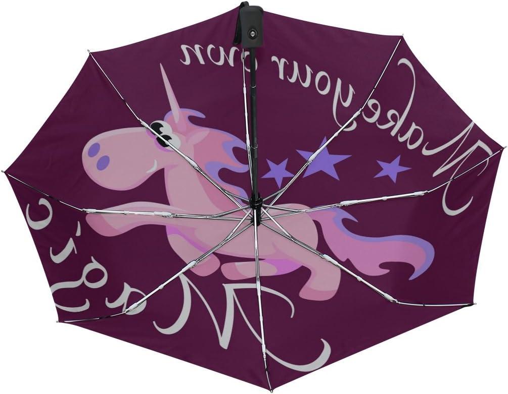 GIOVANIOR Cute Unicorn Fantasy Horse Umbrella Double Sided Canopy Auto Open Close Foldable Travel Rain Umbrellas