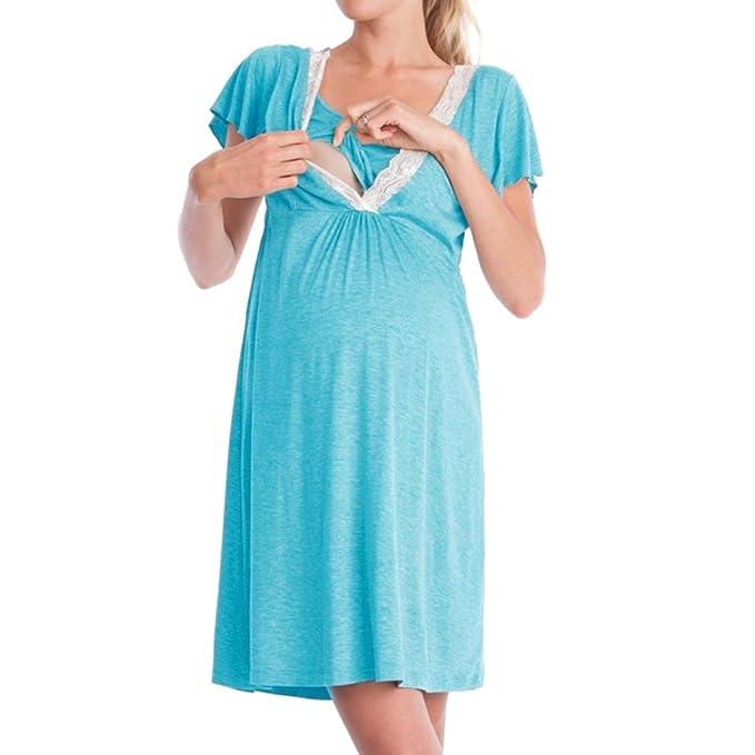 MEIHAOWEI Hospital de Maternidad para Mujeres Camisón Camisón de Enfermería Camisón de Lactancia Camisón: Amazon.es: Ropa y accesorios