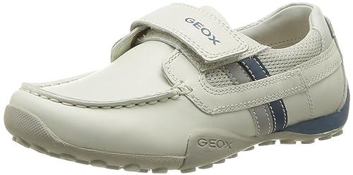 Geox J Snake Moc B J4216b4314c1260 - Mocasines de piel para niños, color blanco,