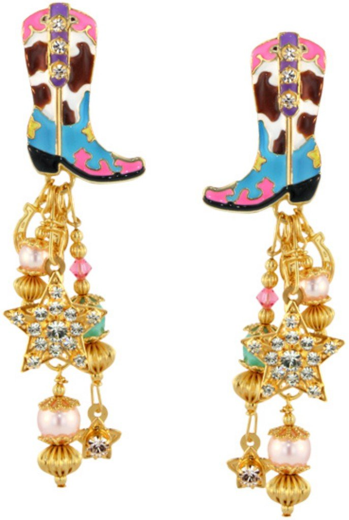 Lunch at The Ritz 2GO USA Rhinestone Cowgirl Earrings-Pony Posts