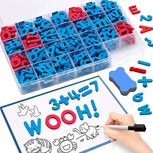 CUJMH Magnetic Letters 228 Pcs Uppercase Lowercase Foam Alphabet ABC Magnets Fridge Refrigerator Toy Set with Magnetic Board and Storage Box for Kids Classroom Home Educational Learning Spelling