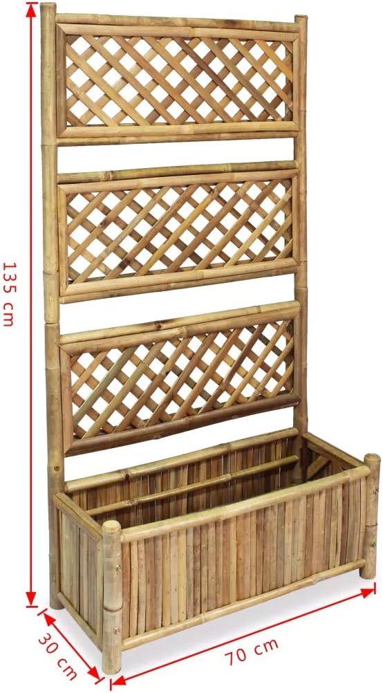Rectangular Planter and Lattice Flower Raised Bed Pot For Vines Garden Climbing Flower Plant Pot 670 x 30 x 135 cm Wakects Bamboo Planter Box with Trellis