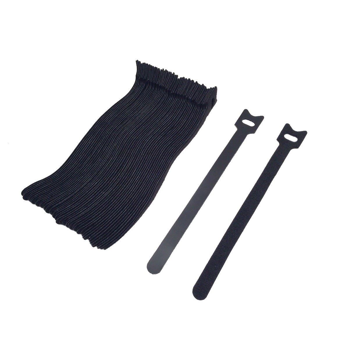 50 PCS 8 pouces (23X200mm) Attaches de serre-câbles réutilisables,attaches câble,serres-câbles,noir