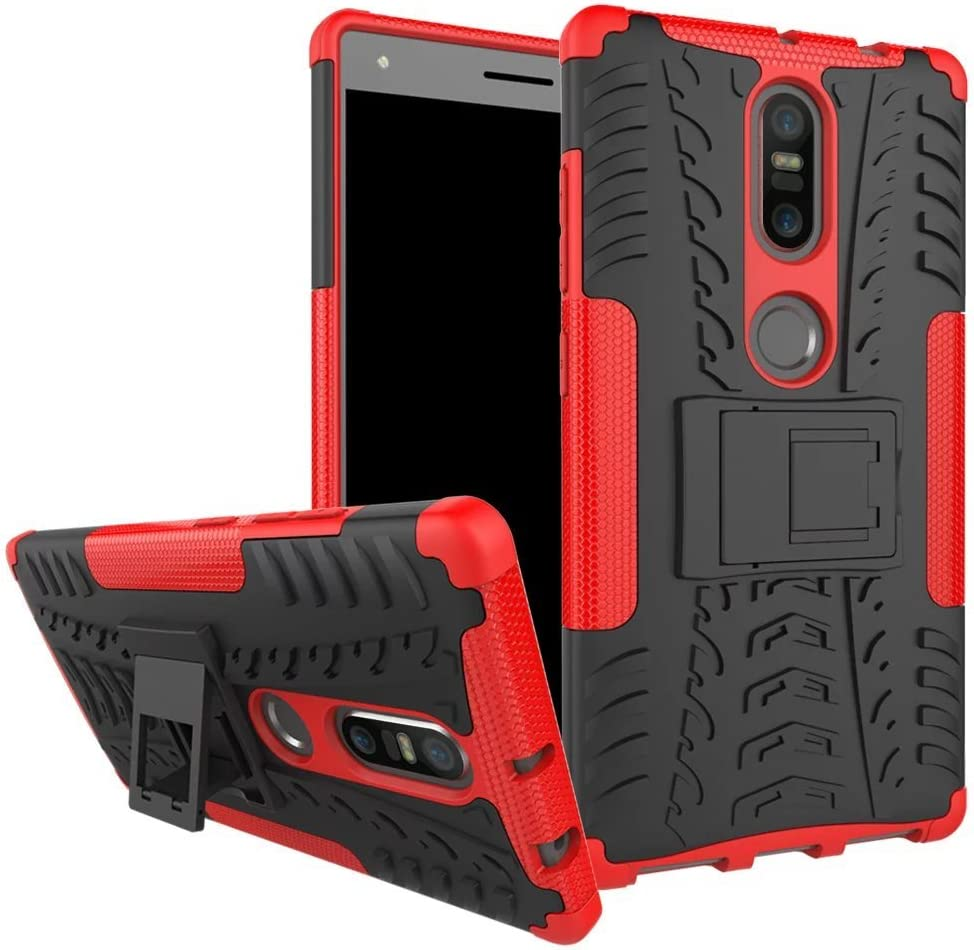 Phab 2 Plus Case, Lantier Hybrid Armor Shockproof Impact Protection Tough Hard Rugged Heavy Duty Combo Dual Layer Protective Case Cover with Kickstand for 6.4inch Lenovo Phab 2 Plus Red