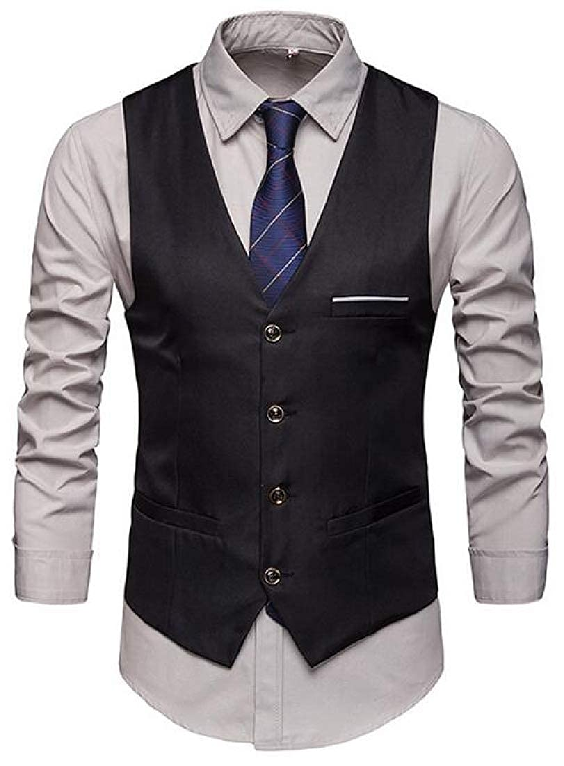 SHOWNO Men Sleeveless 休商务 Single Breasted Solid Color Dress Suit Vest Waistcoat