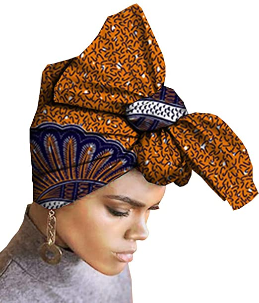 Ababalaya Womens Extra Long African Traditional Wax Print Head Scarf Wrap Tie 35×45 inch