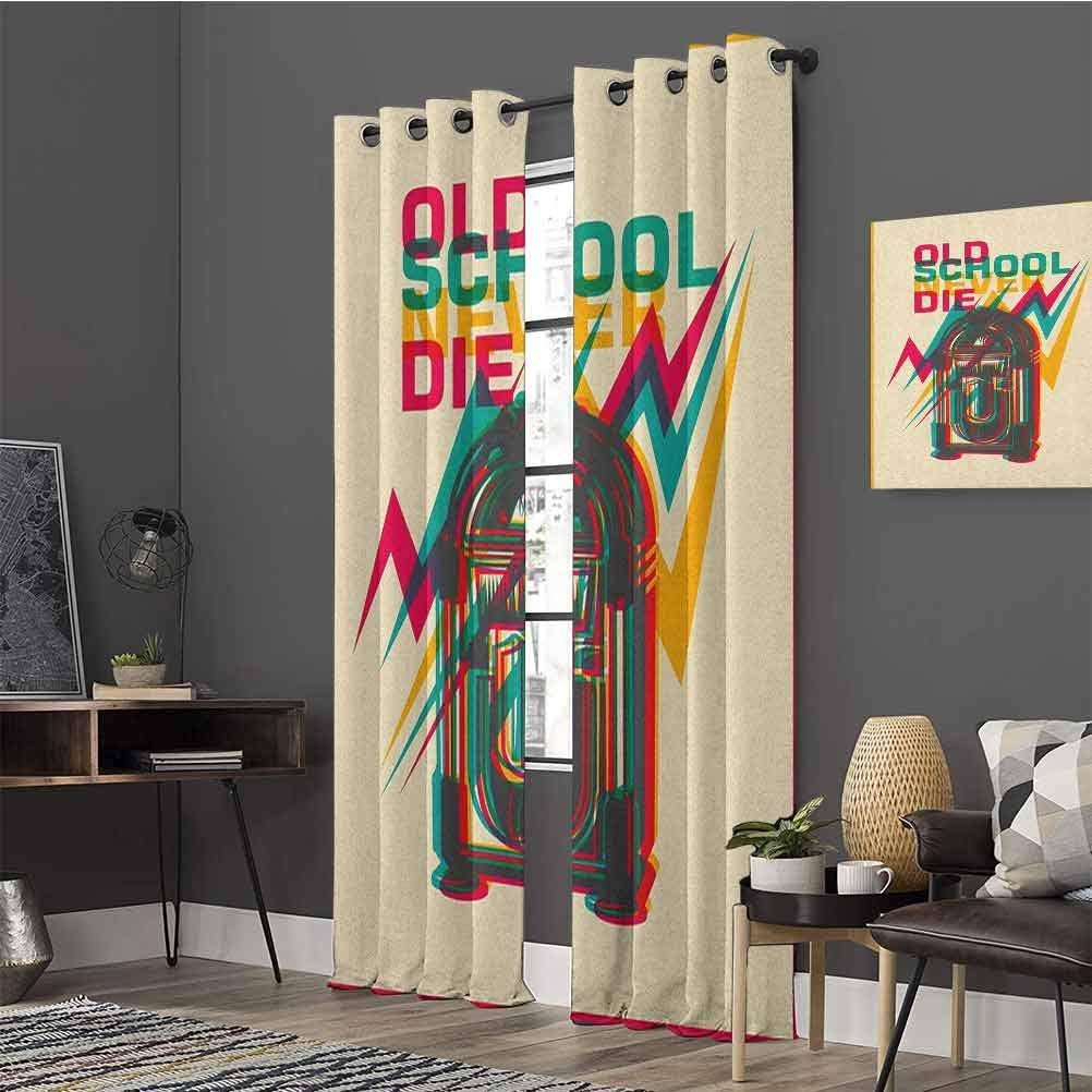 Jukebox Grommets/Curtain/Decoration Old School Never Die Quote on Antique Radio Abstract Backdrop Grommets/Curtain/Door/PanelW108/x/L84 Turquoise Marigold and Hot Pink