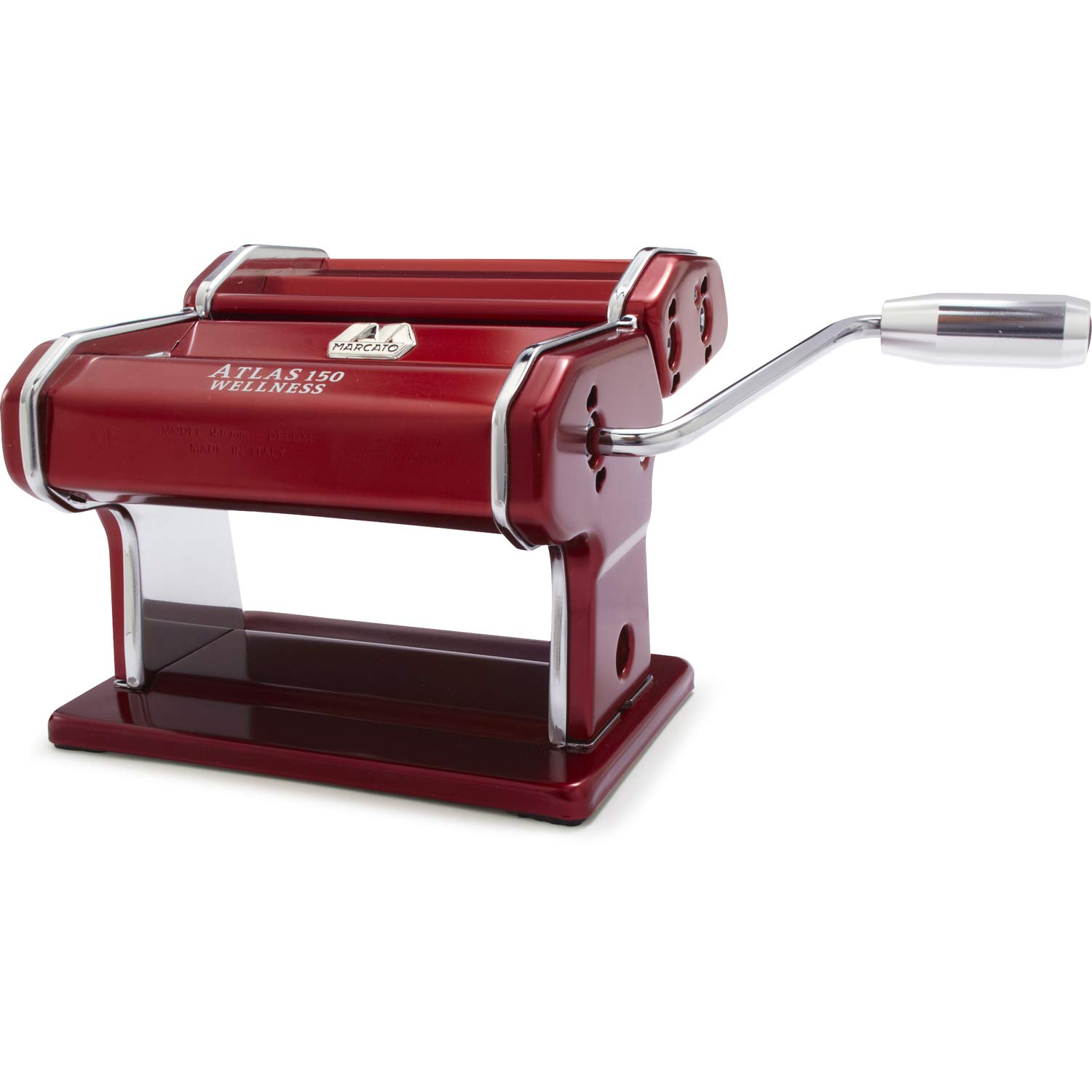 Marcato 8334 Atlas 150 Machine, Made in Italy, Red, Includes Pasta Cutter, Hand Crank, and Instructions, Red, Red by Marcato