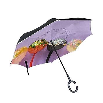 Lollipops Paraguas invertido de doble capa para coches, paraguas invertido, impermeable, resistente al