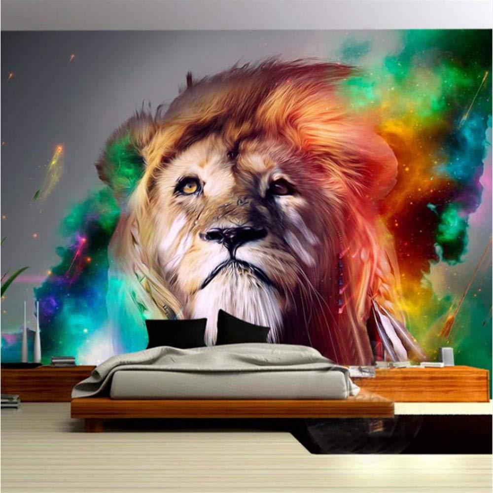 Guyuell 3D Lebensechte Lebensechte Lebensechte Tier Europäischen Stil Lion Benutzerdefinierte Fototapete Wandbilder Wohnzimmer Sofa Hintergrund Geprägtem Papier Moderne Wohnkultur-350Cmx245Cm a9f9b9