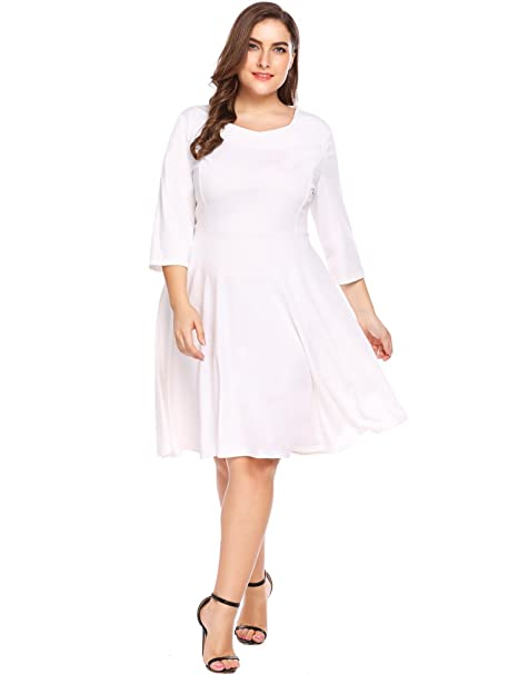 6fcb3b72308 Image Unavailable. Image not available for. Color  IN VOLAND Plus Size Women  Classic Casual Tunic 3 4 Sleeve Square V Neck