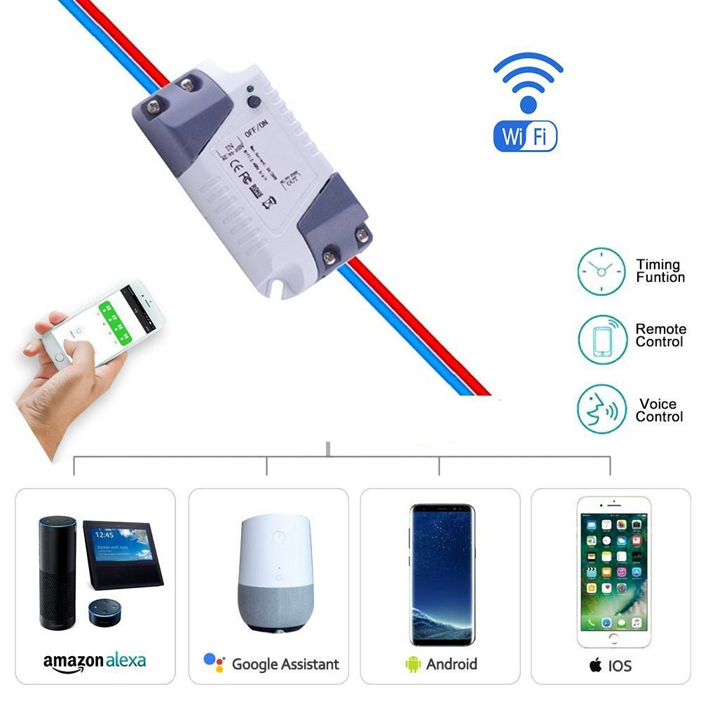 Wireless Voice Control And Timer Switch Smart Switch Wifi Remote Light Switch Universal Module Relay Work With Amazon Alexa Ec